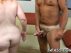 Playful fat girl seduces fella to gang bang her very well