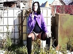 Smoking Outdoors Without Panties With A Toy In Pussy