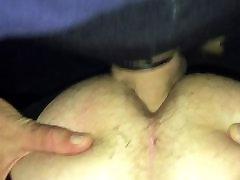 Cum filled piss condom broke in sissy ass