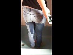 Nice BBW self filmed jeans peeing 1