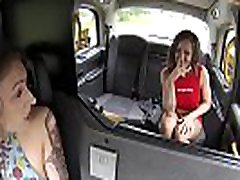 Busty lesbian squirts in female fake taxi