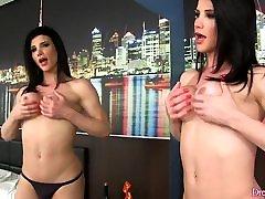 Transsexual Hottie Masturbates with a Huge Dildo