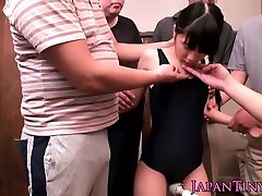 Tiny japanese teen squirting through bodysuit