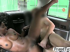 Busty black chick nailed by fraud driver in the taxi