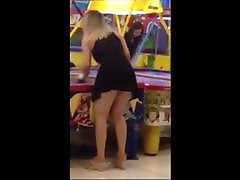 18yr blonde woman in short skirt