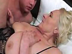 Saggy european granny in lingerie fucked hard