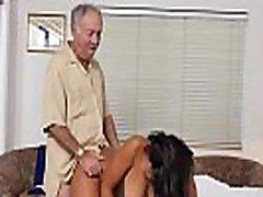 Busty ebony nurse seducing grandpas in trio