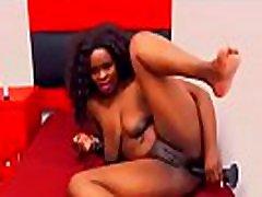 Beautiful ebony chick with great anus enjoys double penetration