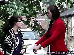 Naughty mature brit spanks lesbian babe