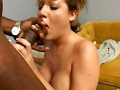 Blonde babe Sophia spreads taking in a giant black cock