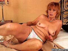 Chubby granny with hairy pussy sucks cock