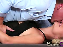 Strapon Babe in black stocking and suspenders gets DP