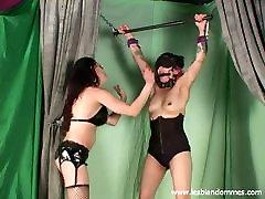 Lesbian femdom bondage punishment and tits pain