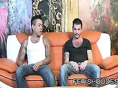 Fetish gay dude Max Sanchez spanking Tristan Mathewss ass