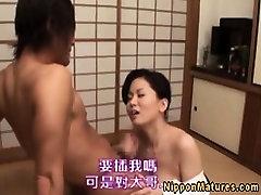 Horny asian busty milf sweet blowjob