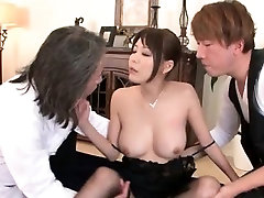 Asian girl in stockings threesome pussy lick