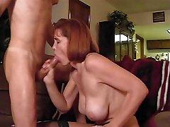 Mature sucks cock and get Big Tits splattered with cum