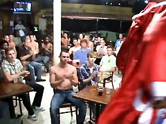 Lad engulfing stripper at party