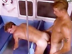CLASSIC VINTAGE SCENE - 2 guys fuck bareback on the train.