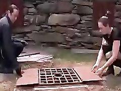 A cute redhead slave tortured outside