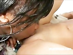 Hot ebony and sexy brunette lesbians fuck each others cunts