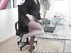 Secretary Slut Wearing Seamless Black Pantyhose Fingers Pussy at