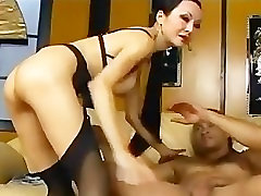 Long haired asian has sex in stockings garter and stilettoes