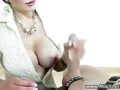 Handjob from the mistress for her servant