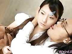 Cute Asian Babe Statue Licked by Horny part5