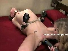 Lesbian mistress slaps sex slave