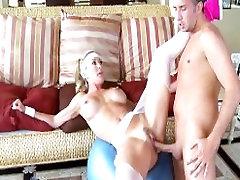 Horny big-tit blonde yoga MILF Brandi Love takes a big hard cock