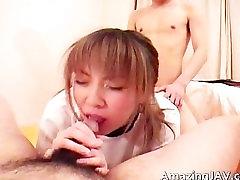 Horny asian schoolgirl sucking hard cock part6