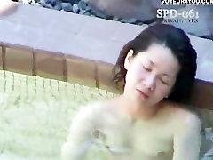 Outdoor bath naked women show