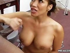 Big tits Asian enjoying some interracial action