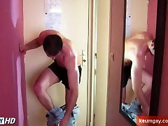 Full video: French straight guy serviced: Guillome get wanked his huge cock
