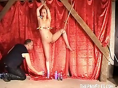Bald asian fetish model Kumi Monsters hot waxing punishments and kinky