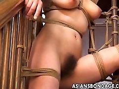 Japanese gal endures a raunchy bondage session