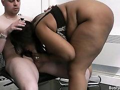 Huge titted ebony BBW fuck for job