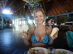 Sarah Stripper Inflates Tiny Tight Bikinis