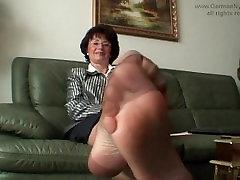 Auntys smelly nylon feet in my face!