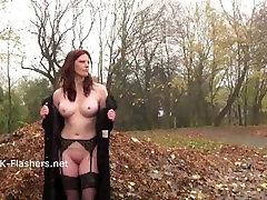 Redhead Holly Kiss flashing in public and outdoor dildo masturbation