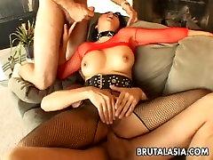 Mega hot busty Asian slut gets spitroasted in a treesome