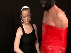 Femdom handjob with HUGE cock