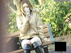 Txt messaging outdoors panties