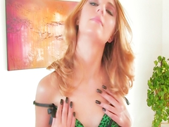 Beautiful lingerie clad redhead strips down fingers her pussy