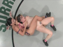 Female perfection and beauty on a wrestling mat