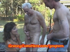 Grannies and a young girl get mouth and tit fucked