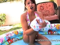 Asian Hottie ARIEL SPINNER nude outdoors pool