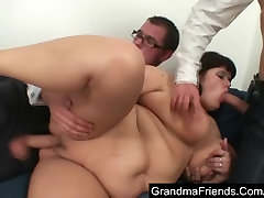 Huge mature takes two cocks after photosession