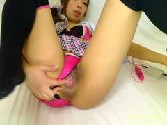 Hot Asian Girl Masturbates With dildo